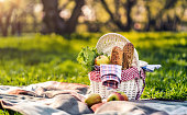 Picnic time. Picnic basket in the park