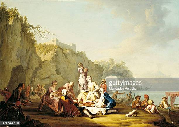 'Picnick in Posillipo by Pietro Fabris 18th Century oil on canvas Italy Campania Naples Royal Palace of Caserta Whole artwork view In the middle of...