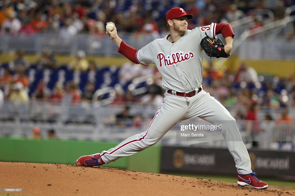 Picther <a gi-track='captionPersonalityLinkClicked' href=/galleries/search?phrase=Roy+Halladay&family=editorial&specificpeople=208782 ng-click='$event.stopPropagation()'>Roy Halladay</a> #34 of the Philadelphia Phillies pitches against the Miami Marlins at Marlins Park on April 14, 2013 in Miami, Florida. The Phillies defeated the Marlins 2-1.