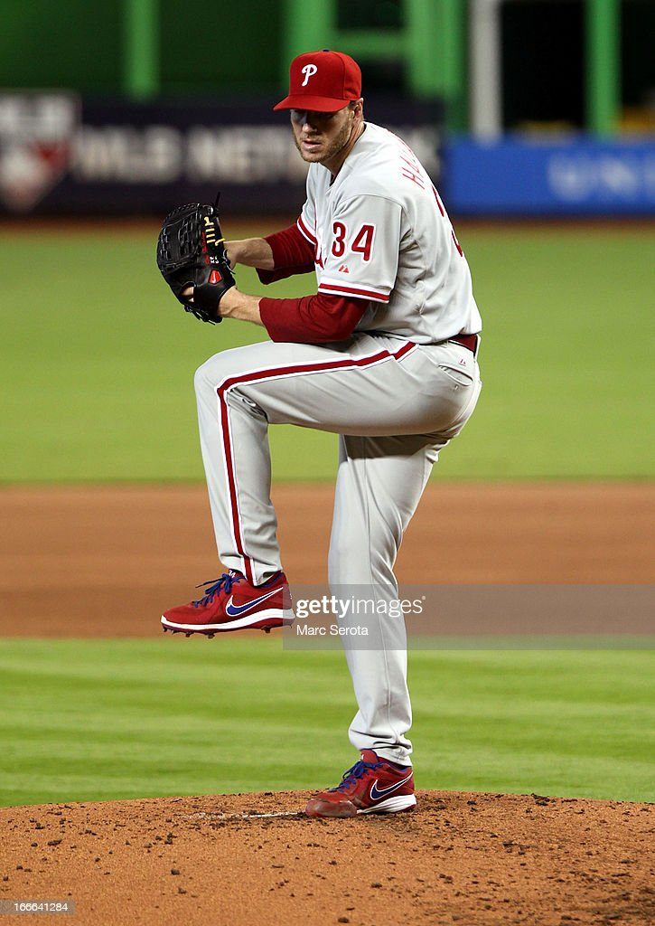 Picther <a gi-track='captionPersonalityLinkClicked' href=/galleries/search?phrase=Roy+Halladay&family=editorial&specificpeople=208782 ng-click='$event.stopPropagation()'>Roy Halladay</a> #34 of the Philadelphia Phillies throws against the Miami Marlins in the first inning at Marlins Park on April 14, 2013 in Miami, Florida. The Phillies defeated the Marlins 2-1.