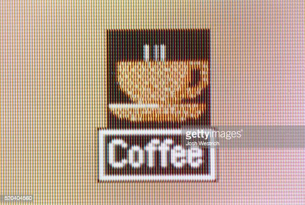 Pictogram, a cup of coffee on the screen