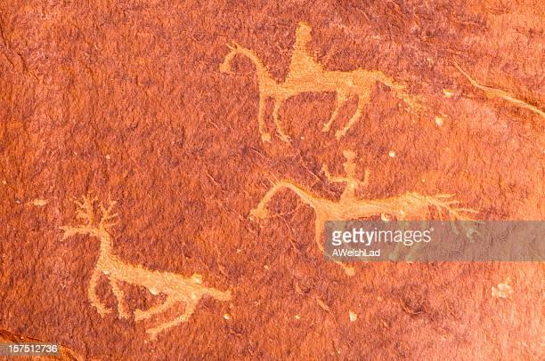 Piktogramme der Reiter auf Pferde Canyon de Chelly, Arizona, USA