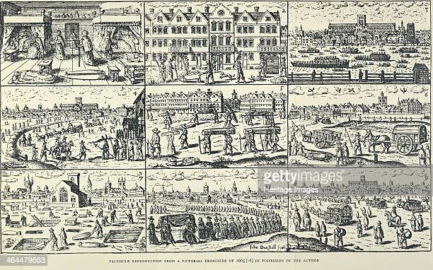 Pictorial depiction of the Great Plague The top left scene is in a bedchamber with a person laid out on the floor and a coffin A scene on the middle...
