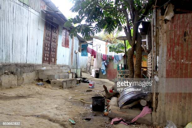 A pictre taken on September 22 2017 shows a street of La Vigie in PetiteTerre on the Mozambique channel French archipelago of Mayotte as a census...
