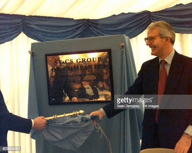 Prime Minister John Major having a spot of bother at a plaque unveiling ceremony in his Huntingdon constituency this morning The premier who was...