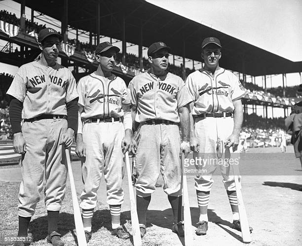 A picture before the start of the 1st game of the 1942 World Series of the 'Heavy Hitters' of the St Louis Cardinals and the New York Yankees Left to...