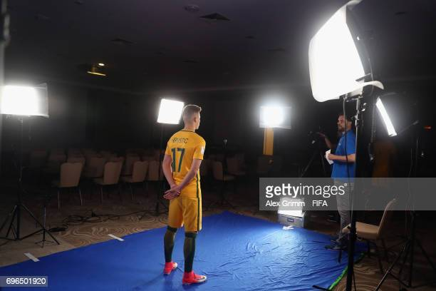 A picture behind the scenes as Ajdin Hrustic poses for a filming shoot during the Australia team portrait session on June 15 2017 in Sochi Russia