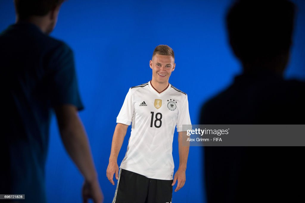 A picture behind the scenes as Joshua Kimmich poses for a filming shoot during the Germany team portrait session on June 16, 2017 in Sochi, Russia.