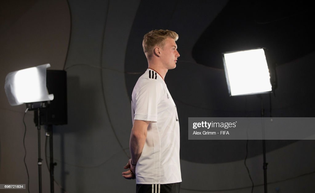 A picture behind the scenes as Julian Brandt poses for a filming shoot during the Germany team portrait session on June 16, 2017 in Sochi, Russia.