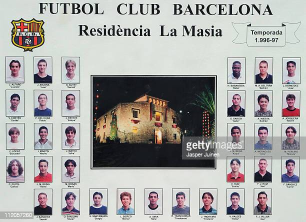 A picture collage hanging inside La Masia shows Barcelona youth players from the 1996/1997 season with now star players Andres Iniesta and Carles...