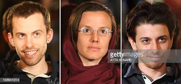 A picture combo shows detained US hikers Shane Bauer Sarah Shourd and Josh Fattal during a meeting with their mothers in Tehran on May 20 2010 Iran...