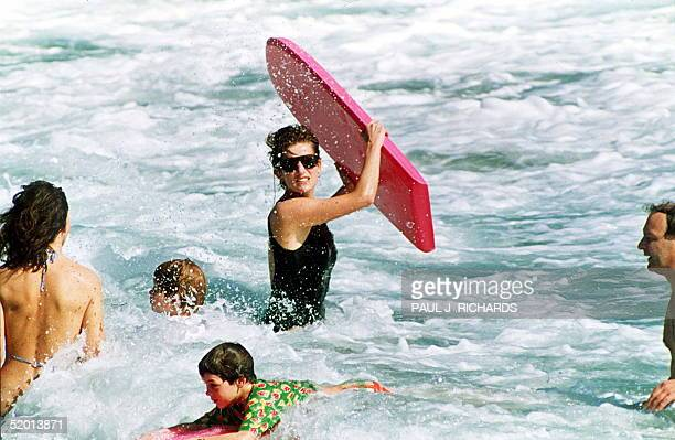 Picture dated 01 January 1993 shows Princess of Wales enjoying the waters of Indian Castle Beach while vacationing on Nevis with her sons William and...
