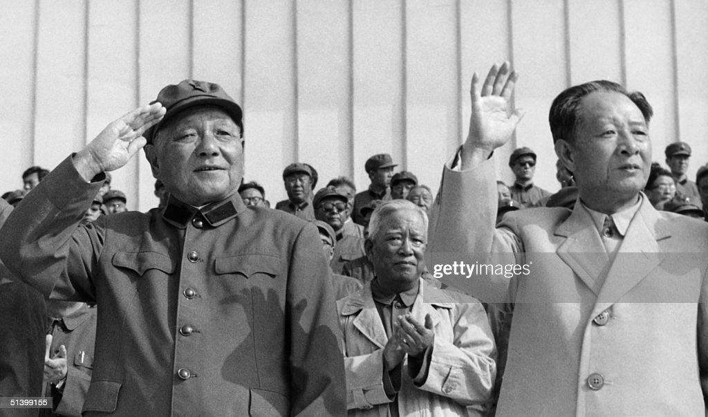 Picture dated 01 September 1981 in Beijing of Hu Yaobang (R, 1915-89) and Chinese Communist leader <a gi-track='captionPersonalityLinkClicked' href=/galleries/search?phrase=Deng+Xiaoping&family=editorial&specificpeople=201130 ng-click='$event.stopPropagation()'>Deng Xiaoping</a> (1904-97). Purged during the Cultural Revolution (1966-9), Hu Yaobang was elected Chinese Communist party leader in 1981 and dismissed in 1987 for his relaxed handling of wave of student unrest. Popularly revered as a liberal reformer, his death triggered an unprecedented wave of pro-democracy demonstration in May 1989. Dismissed in 1976 after the death of Mao Zedong, <a gi-track='captionPersonalityLinkClicked' href=/galleries/search?phrase=Deng+Xiaoping&family=editorial&specificpeople=201130 ng-click='$event.stopPropagation()'>Deng Xiaoping</a> was restored to power, and since 1978 has taken China through a rapid course of pragmatic reforms. His prestige was damaged by his role in the repression of the mass pro-democracy protest on Tiananmen Square in 1989.