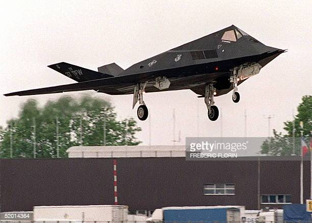 Picture dated 11 June 1991 shows an American F117 Stealth fighter flying over Le Bourget near Paris US President Bill Clinton ordered 18 November six...