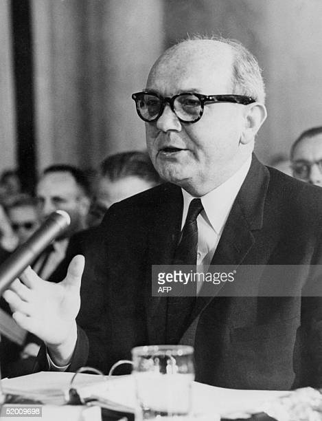 A picture dated 13 August 1963 of US Secretary of State Dean Rusk talking to the senators in Washington to convince them to ratify the Moscow...