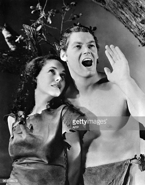Picture dated 1932 from one of the movie 'Tarzan' shows Maureen O'Sullivan in the role of Jane and Johnny Weissmuller playing Tarzan Johnny...
