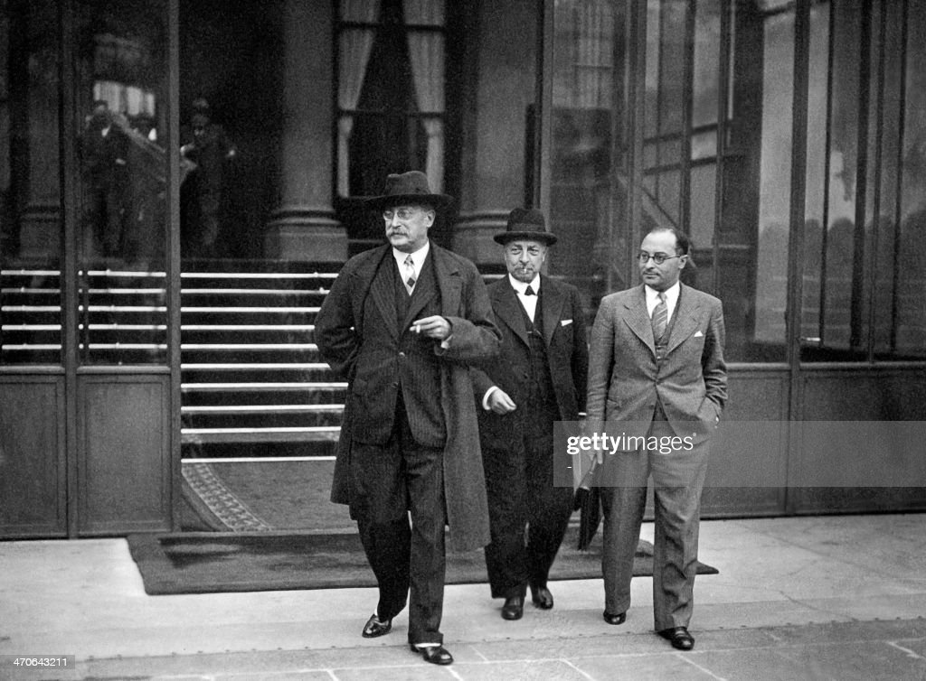 Picture dated 1938 pf French council president Leon Blum (L) with Education minister <a gi-track='captionPersonalityLinkClicked' href=/galleries/search?phrase=Jean+Zay&family=editorial&specificpeople=1474639 ng-click='$event.stopPropagation()'>Jean Zay</a> (R) after a council of ministers.