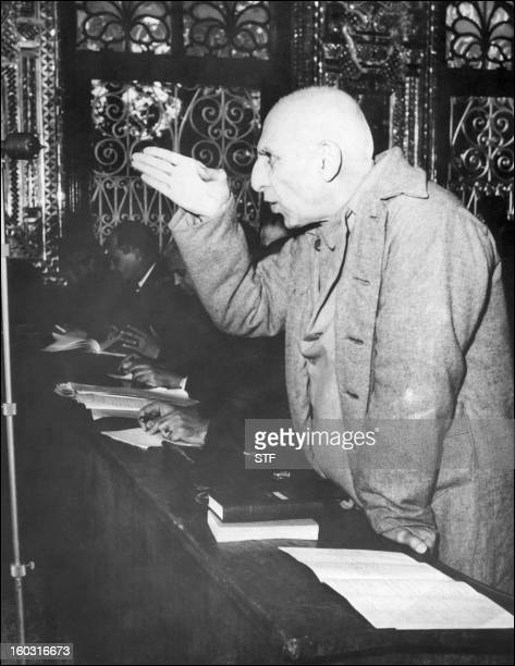 Picture dated 20 November 1953 of Iranian exPremier Mohammed Mossadegh using his hand to make a point during one of his frequent interruption of...