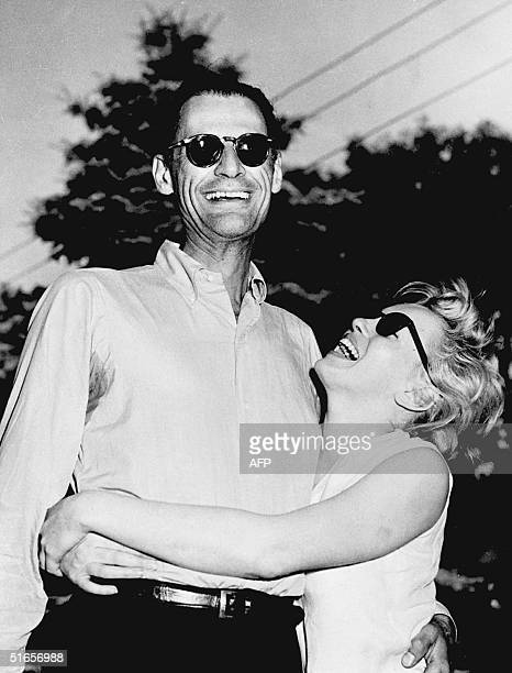 Picture dated 27 June 1956 in Connecticut showing American writer Arthur Miller and actress Marilyn Monroe few days before they get married