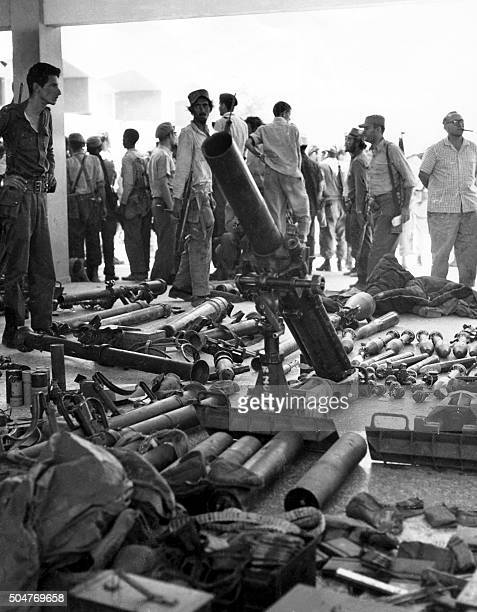 Picture dated April 1961 of weapons and munitions seized by Cuban forces to antirevolutionnary fighters during the Bay of Pigs Invasion The...