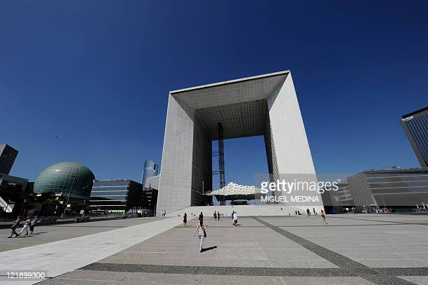 Picture dated August 20 2011 of la La Défense and its Grande Arche La Defense is a major business district of the Paris aire urbaine With a...