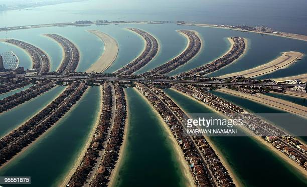 A picture dated December 17 2009 shows a partial aerial view of the manmade Palm Jumeirah island built by Nakheel property giant off the coast of the...