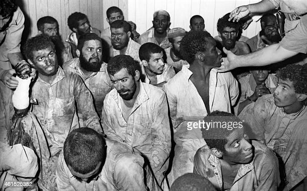 Picture dated December 1979 in Jeddah of arrested Moslem gunmen belonging to the group commanded by Jihman bin Saif alOtaiba alias 'Lieutenant Mahdi'...