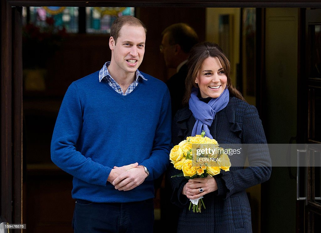 - A picture dated December 6, 2012 shows Britain's Prince WiIliam, the Duke of Cambridge, (L) posing for pictures with his wife Catherine, Duchess of Cambridge, as they leave the King Edward VII hospital in central London. Prince William and his wife Catherine's first child is due in July, St James' Palace announced on January 14, 2012. AFP PHOTO/Leon Neal