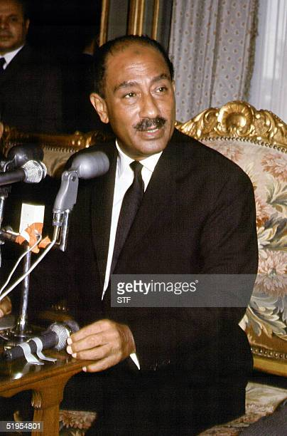 Picture dated February 1972 of Egyptian President Anwar elSadat Sadat became president in October 1970 and sought settlement of the conflict with...