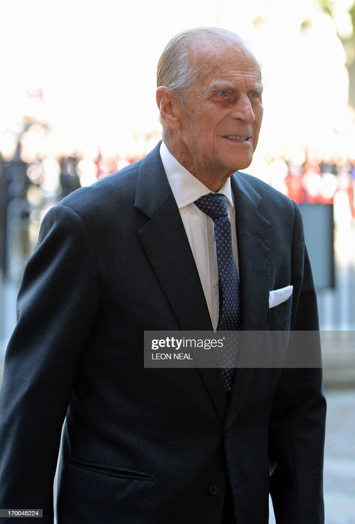 - A picture dated June 4, 2013 shows Britain's Prince Philip, husband of Queen Elizabeth II, arriving at Westminster Abbey in London for a service to celebrate the 60th anniversary of the Coronation Service. The 91-year-old husband of Queen Elizabeth II, was admitted to hospital on June 6, 2013 for 'exploratory' surgery and is likely to stay there for two weeks, Buckingham Palace said. AFP PHOTO/Leon Neal