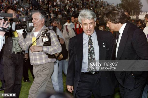 A picture dated May 05 1992 shows Presidents of the SC Bastia Jeanfrançois Filippi and of the Olympique de Marseille Bernard Tapie meeting on the...