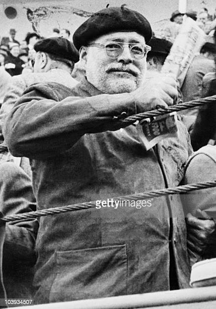 Picture dated of the 50's showing American writer Ernest Hemingway at a bullfight in Pamplona Spain