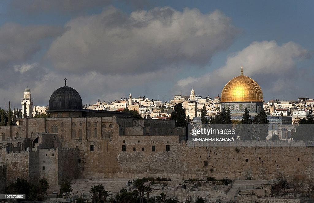 A picture dated on December 8, 2019 shows a general view of the Al-Aqsa (L) and the Dome of the Rock (R) mosques in the old city of Jerusalem. Israel's policies in occupied east Jerusalem are harming the prospect of the Palestinians having their future capital there, which 'seriously endangers' a two-state solution, the EU said on December 7, 2010.