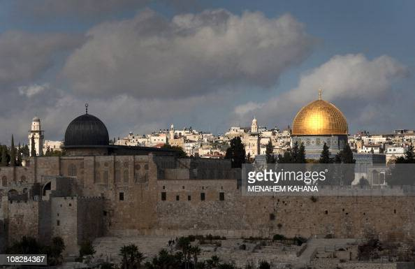 A picture dated on December 8 2019 shows a general view of the AlAqsa and the Dome of the Rock mosques in the old city of Jerusalem Palestinian...