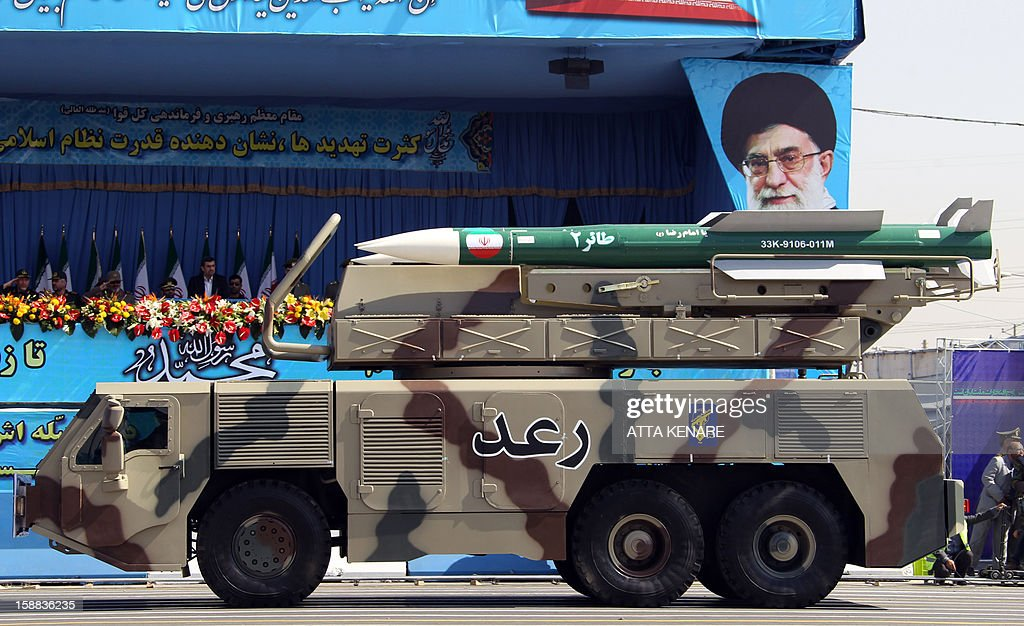 A picture dated September 21, 2012, shows a Raad air defense system carrying Taer missiles being displayed by Iran's Revolutionary Guard, during an annual military parade which marks Iran's eight-year war with Iraq, in the capital Tehran. Iranian forces have carried out what they called cyber warfare tactics for the first time as the Islamic republic's naval units staged manoeuvres in the key Strait of Hormuz, media reports said on December 31, 2012.