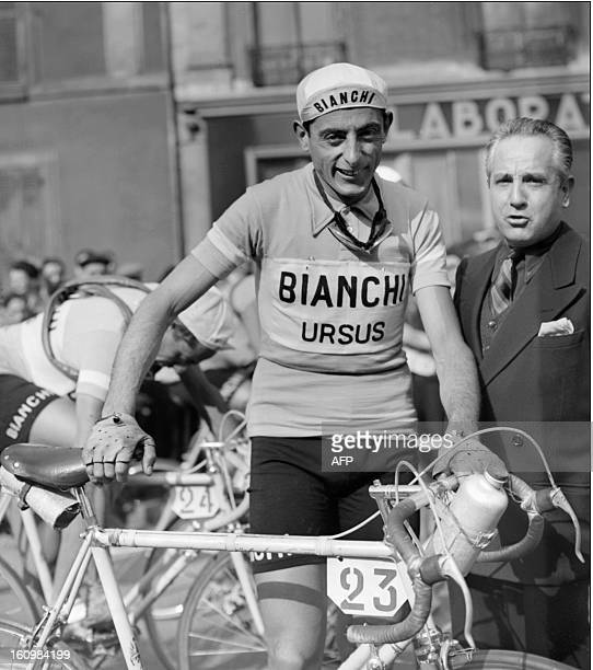 A picture dating probably from the 1950s of Fausto Coppi from Italy one of the most famous cyclist in the world