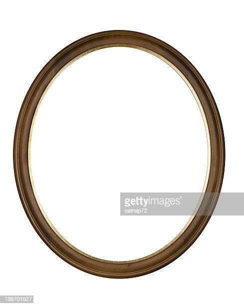 Cornice ovale cerchio marrone, bianco isolato Fotografia da Studio