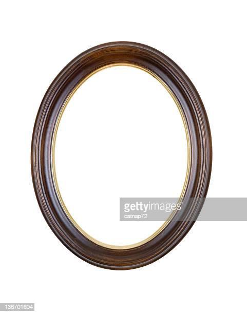 Cornice ovale marrone rotondo, bianco isolato