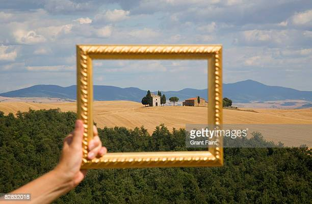 picture frame framing farm chapel countryside