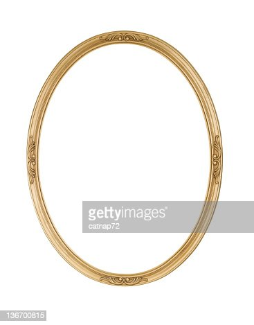 Picture Frame Gold Oval Round, Narrow, White Isolated Studio Shot