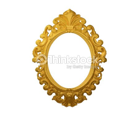 Picture Frame Gold Round Oval White Isolated Studio Shot Stock Photo