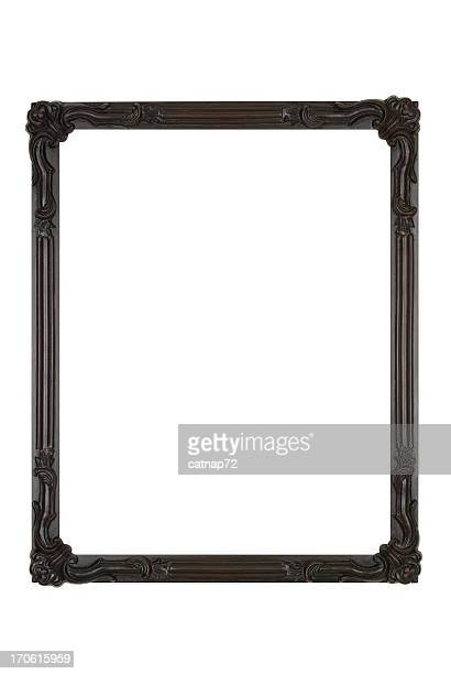 Picture Frame in Black Art Deco, White Isolated Design Element