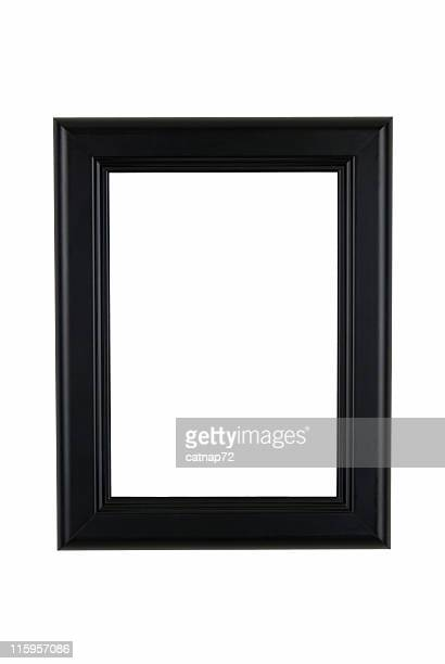 Picture Frame in Black, Classic Modern Style, White Isolated Background