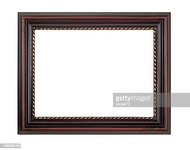 Picture Frame in Brown Red, White Isolated