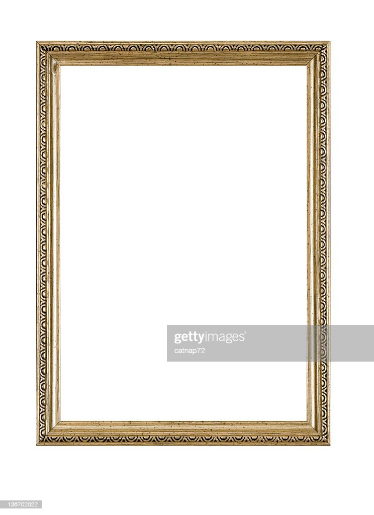 Picture Frame in Gold, Narrow Antique, White Isolated