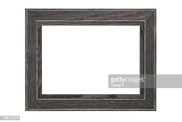 Cadre photo en bois gris rustique, blanc isolé photo en Studio