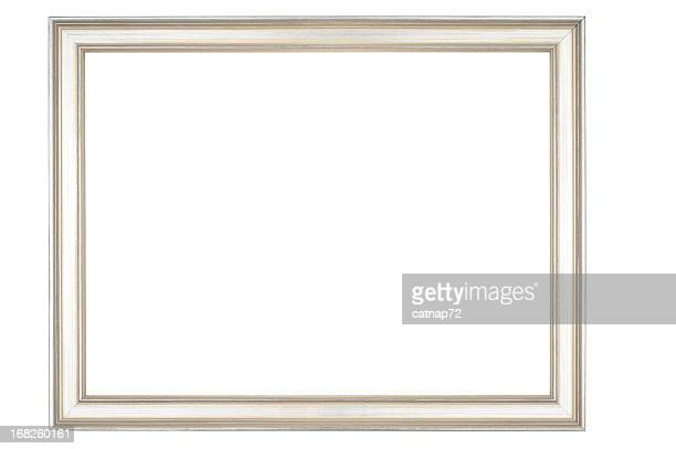 Picture Frame in Narrow Shiny Silver, Isolated on White Background