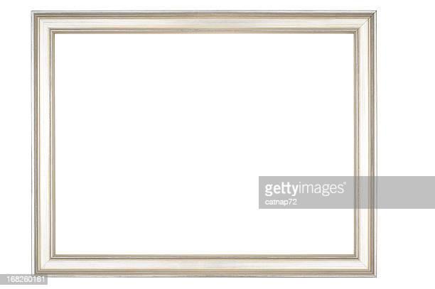 Sottile cornice per foto in argento lucido, isolato su sfondo bianco