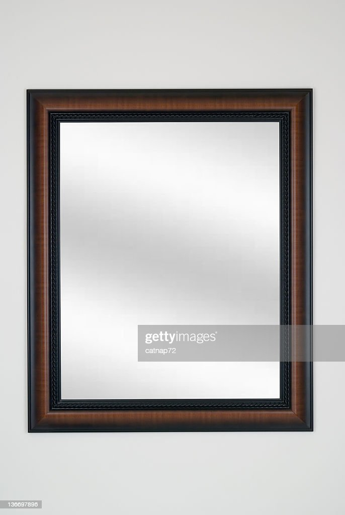 Picture Frame Mirror in Tiger Maple, Modern, White Isolated