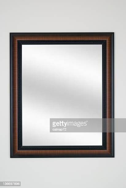 Picture Frame Mirror in Tiger Maple, Modern, White Isolated Studio